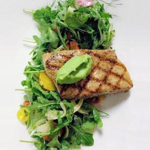 Photo Credit: @thechefette Grilled Mahi Mahi, fresh veggies & arugula salad